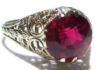 COLLECTOR OSTBY BARTON 14K WHITE GOLD FILIGREE SYNTHETIC SAPPHIRE RING SIZE 5.75