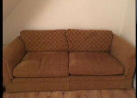 tan/brown 2-3 seater settee