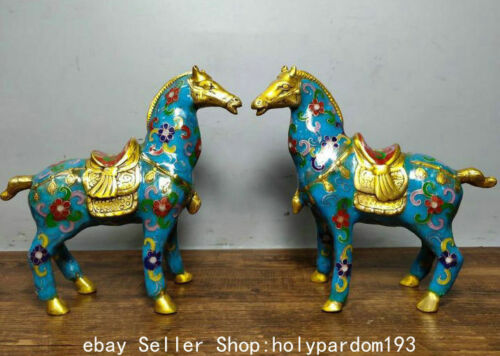 "6.6"" China Copper Cloisonne Gilt Dynasty Palace War Horse Statue Sculpture Pair"