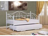 NEW strong white single metal day bed with crystals