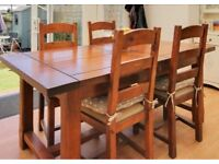 Solid wood extending dining table with 6 chairs