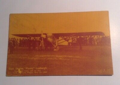 1927 RPPC Post Card Charles Lucky Lindbergh Exhibit Coupon On Back](Post Coupons)