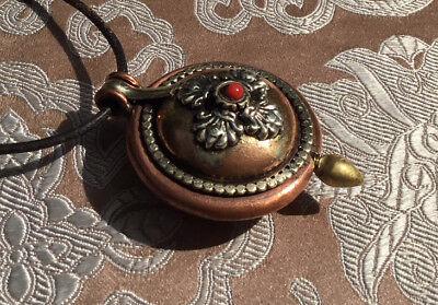 Great Tibetan Wooden Amulet Gau Nepal Dorje Copper, Brass, Silver + Coral