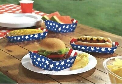 4th of July AMERICAN PRIDE PAPER FOOD TRAYS (50pc) ~ Birthday Party Supplies - 4th Of July Paper Products