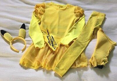 Pikachu Costume Girls Pokemon Halloween Dress Tights Boot Covers Ears Shirt 7/8