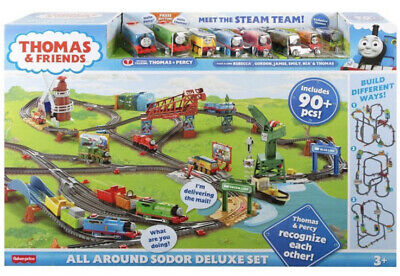 FISHER-PRICE THOMAS & FRIENDS ALL AROUND SODOR DELUXE TRAIN SET 90+ Pcs 8 NEW