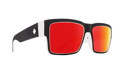 Spy CYRUS Whitewall Blk Wht w/ Happy Red Spectra Sunglasses - Free Express Post