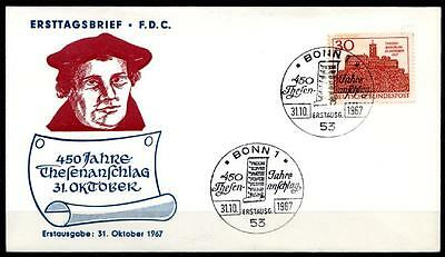 Reformator Martin Luther. 450J. des Thesenanschlags. FDC(2). BRD 1967