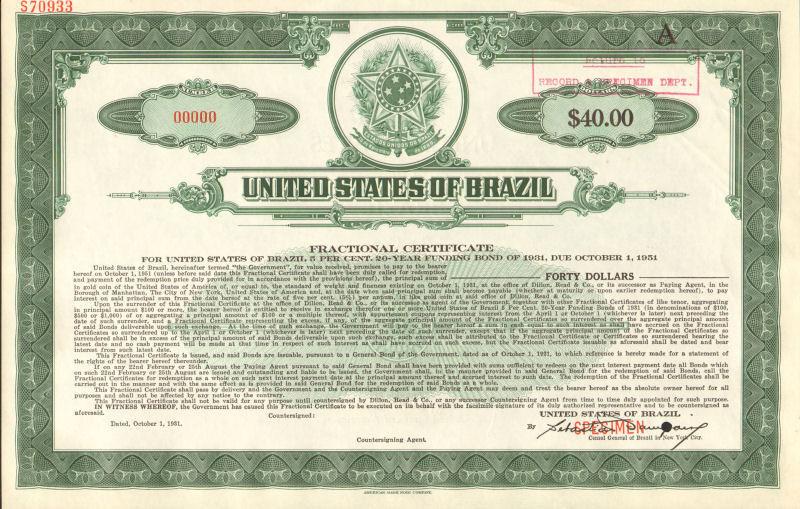 United States of Brazil > Estados Unidos do Brazil >> specimen stock certificate