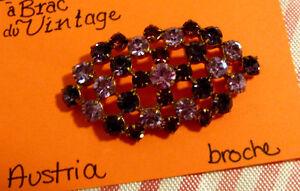 Broche vintage pierreries mauves et lilas Austria #017