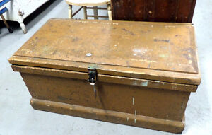 Antique Wooden Tool Box / Coffee Table - BLUE JAR Antique Mall