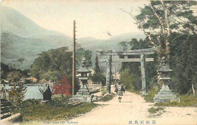 C-1910 Lake Old Hakone hand colored postcard 7038