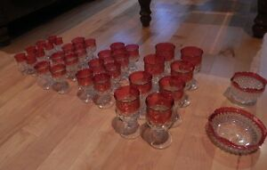 44 Pieces Kings Crown Ruby Flash Thumbprint Pressed Glass