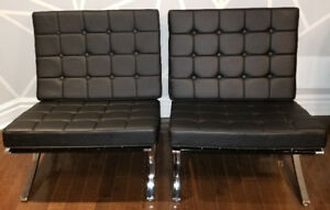 Black Faux Leather Barcelona Accent Chair Chrome base