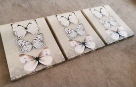 3 piece hanging canvas pictures - Butterflies
