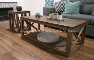 Rustic coffee table and end table set (new)