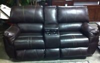 Euc leather reclining couch n love seat