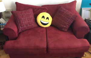 Red comfy couch/love seat