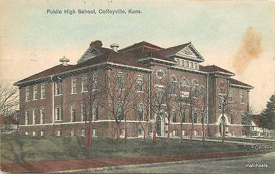 1908 Public High School Coffeyville Kansas Kress Postcard 2897