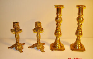 Gorgeous Antique Brass Candle Holders - From England