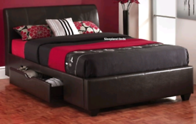 Double leather bed with mattress and underneath storage drawers. Exce