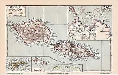 SAMOA Westsamoa Upolu Savaii Apia LANDKARTE von 1905 Tutuila-Inseln Südsee
