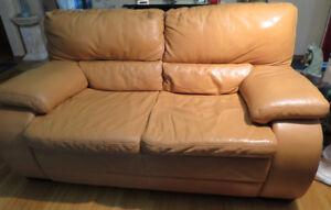 Leather sofa n loveseat
