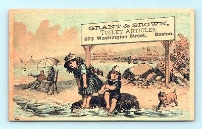 1800's Antique GRANT & BROWN DRUGSTORE Victorian CHILD & DOG Trade Card BOSTON