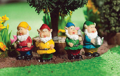 1/12 Dolls House miniature Set of 4 Gnomes Garden Fairy Pixie Ornaments BN LGW