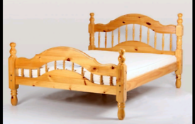 Solid double pine bed