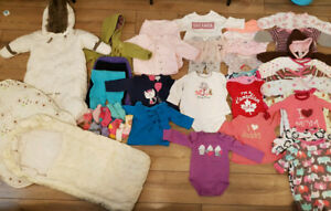 Girl's clothing lot 0-9 months,snow suit,sleeping bags