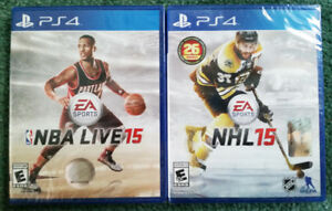 NBA LIVE 15 & NHL15 - New and Sealed.