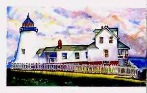 House by the ocean watercolor