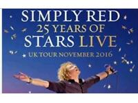 Pair of simply red concert tickets at the SSE arena in wembley 25th november