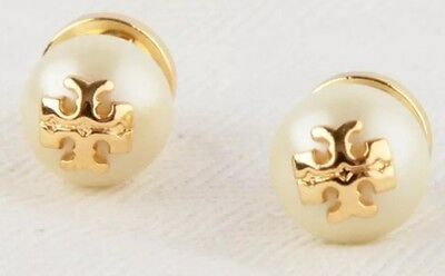 AUTHENTIC TORY BURCH 'EVIE' IVORY CRYSTAL PEARL STUD EARRINGS-RV $75-NEW!