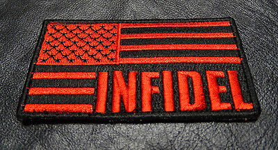 INFIDEL US AMERICAN FLAG TACTICAL COMBAT ARMY MILITARY MORALE  HOOK LOOP PATCH