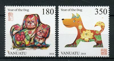 Vanuatu 2018 MNH Year of Dog 2v Set Dogs Chinese Lunar New Year Stamps