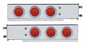 Stainless Steel Mud Flap Hanger w/ Red (7) LED Lights Spring Loaded (PAIR)  2.5