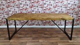 Industrial Style Steel & Reclaimed Wood Dining Table / Benches / Set