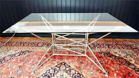 DESIGNER SPECTACULAR MILINARI LUNAR M GERMAN SYSTEM 180 PLATE GLASS DINING TABLE V.G.C COST £1350