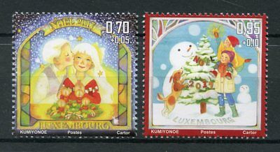 Luxembourg 2017 MNH Christmas Trees Snowman 2v Set Seasonal Stamps