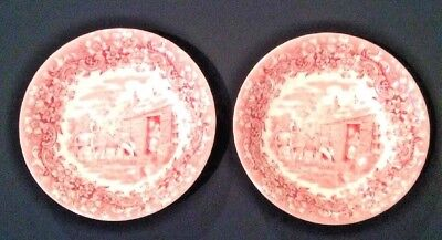 17th CENTURY RED RIVER ENGLAND IRONSTONE PAIR COUPE CEREAL/SOUP BOWLS 6.5X1-3/4