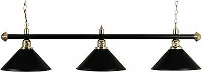 - POOL TABLE LIGHTING BLACK ENAMELED BRASS BAR WITH 3 BLACK SHADES##