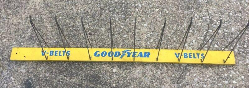 "Vintage Goodyear V-Belts 48"" Wood Automotive Rack Gas Station Tire Steampunk"