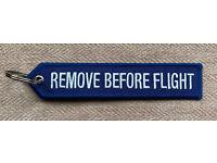 Remove Before Flight Tag Keychain NEW Military FDS Avionics