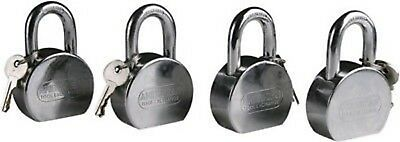 4 Piece Pad Lock American Tool Keyed Alike Same Key Padlock Security Chrome Set