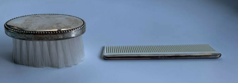 Sterling Silver Baby Comb and Brush Set