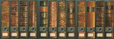 12 Ordnerrücken Bücher 1 -12 Lexikon Ordner Ordneraufkleber Deko