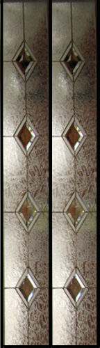 """Door Glass Sidelights Clear bevel Diamonds with texture obscure Art glass 12""""x59"""