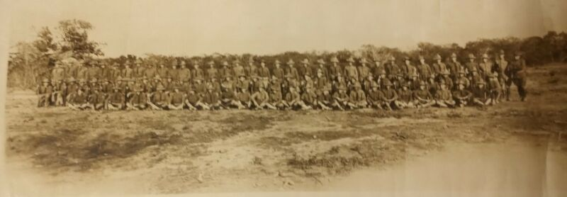WW1 Yardlong Panoramic Photograph Military Camp Enlistments Soldiers Guns